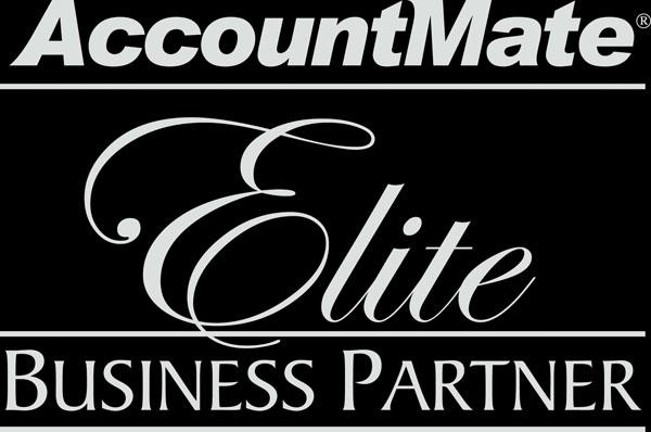 Accountmate logo. Microworks is an Authorized Business Partner
